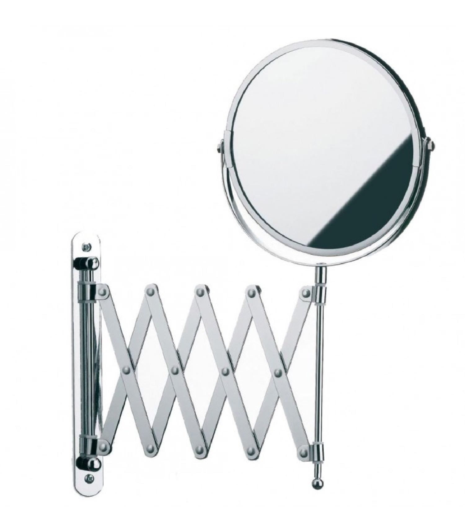 Miroir mural grossissant x5 double face sur bras extensible