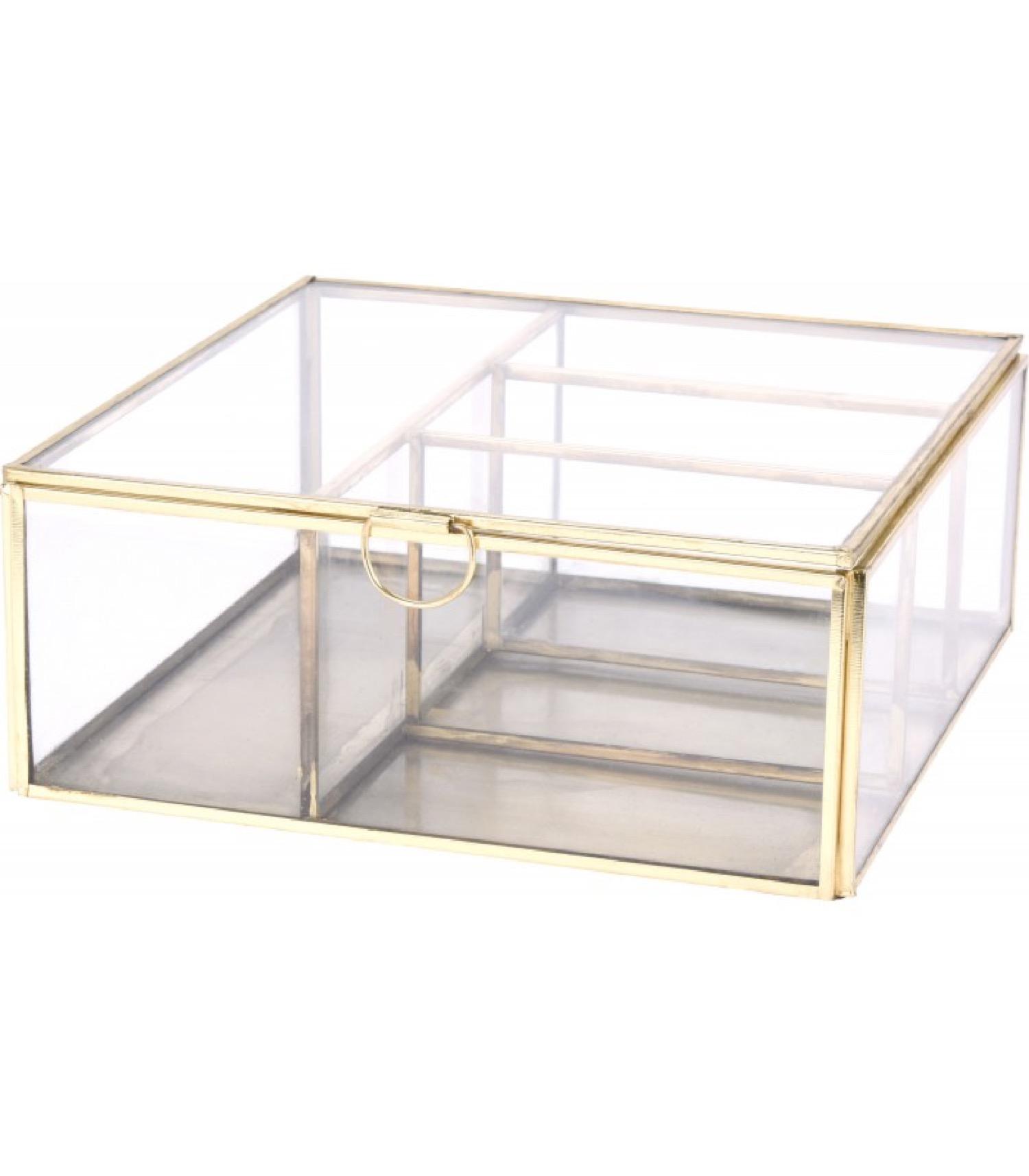 Boîte à bijoux en métal doré et verre