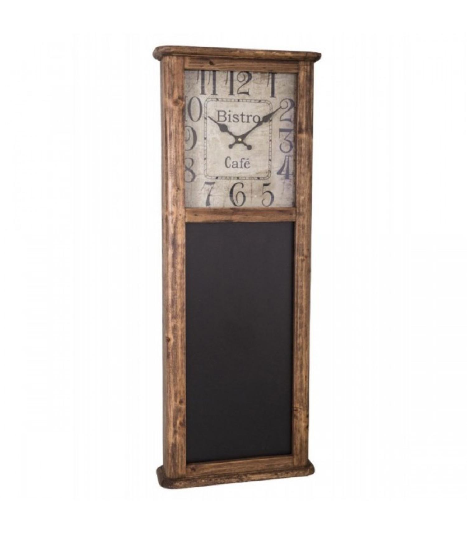Horloge en bois avec tableau noir H92cm