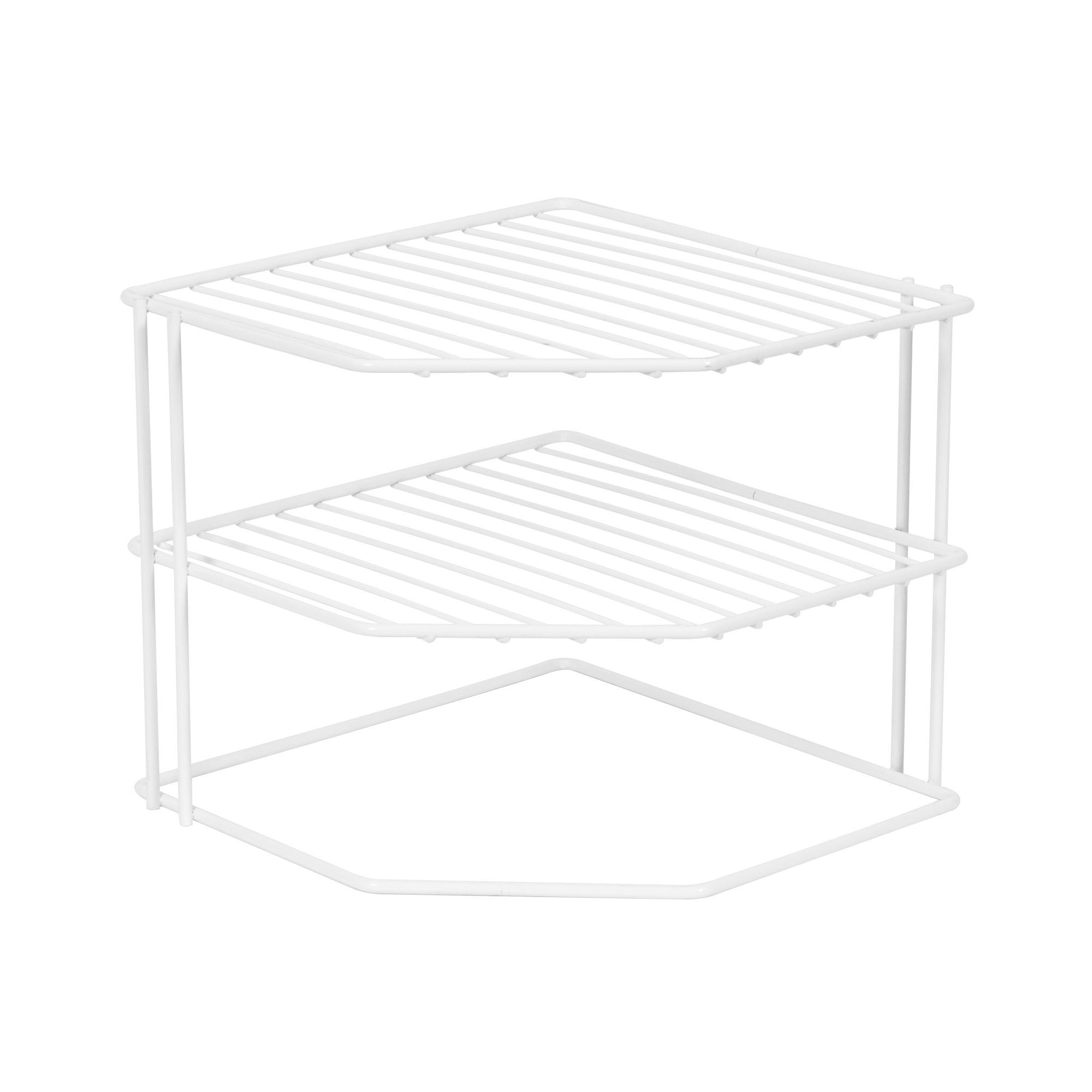 Étagère d'angle blanche pour assiettes 26x26cm