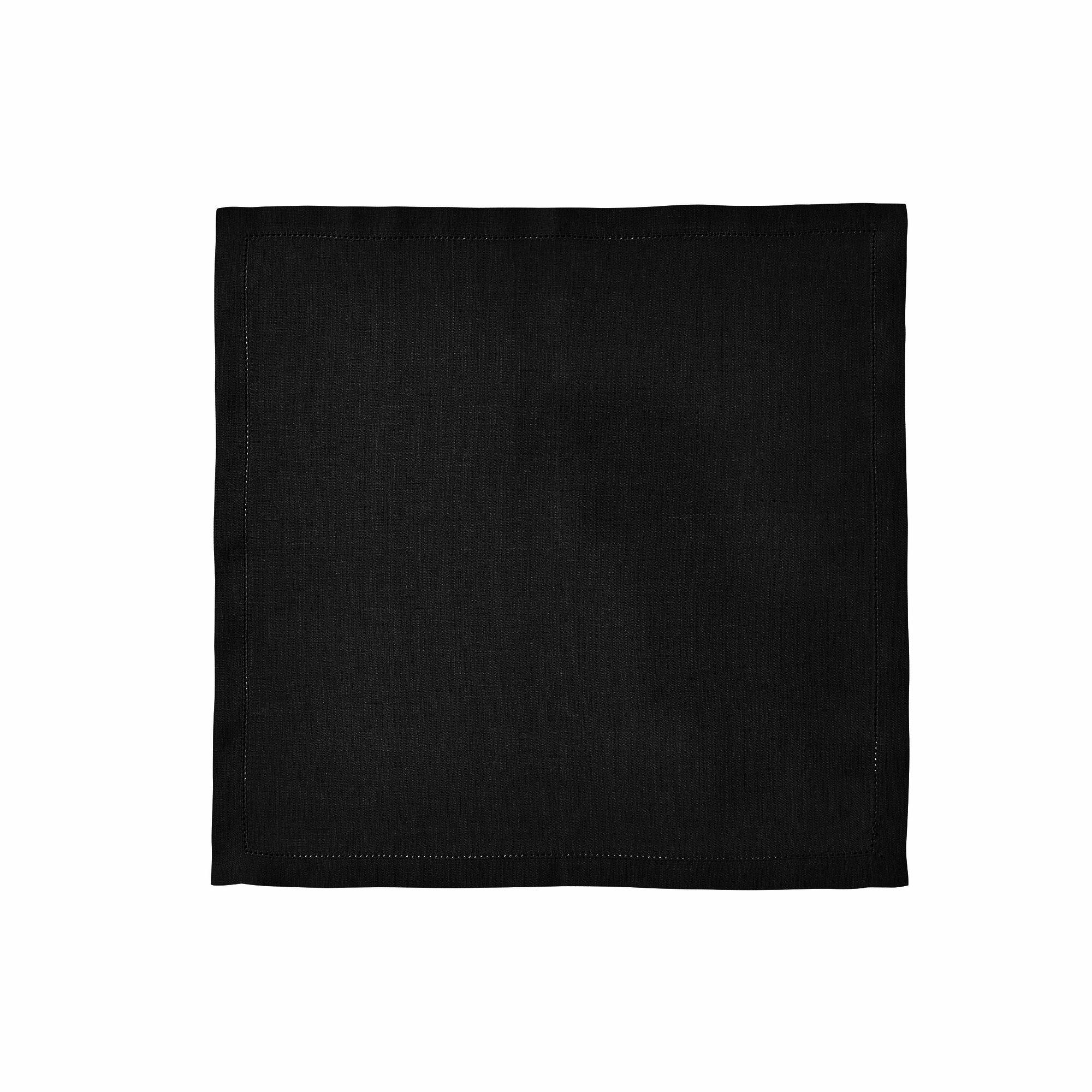 Serviette de table en lin noir 50x50