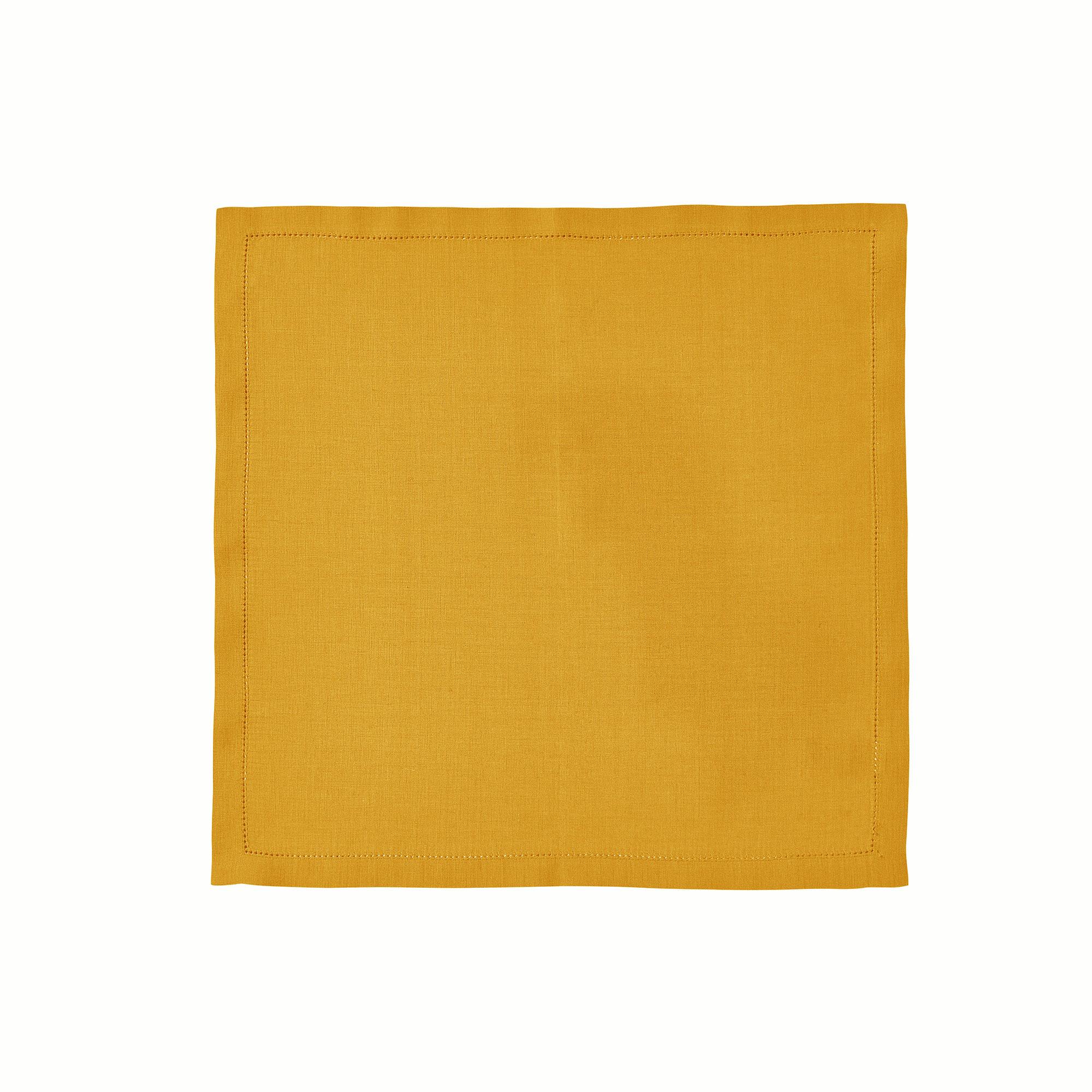 Serviette de table en lin jaune 45x45