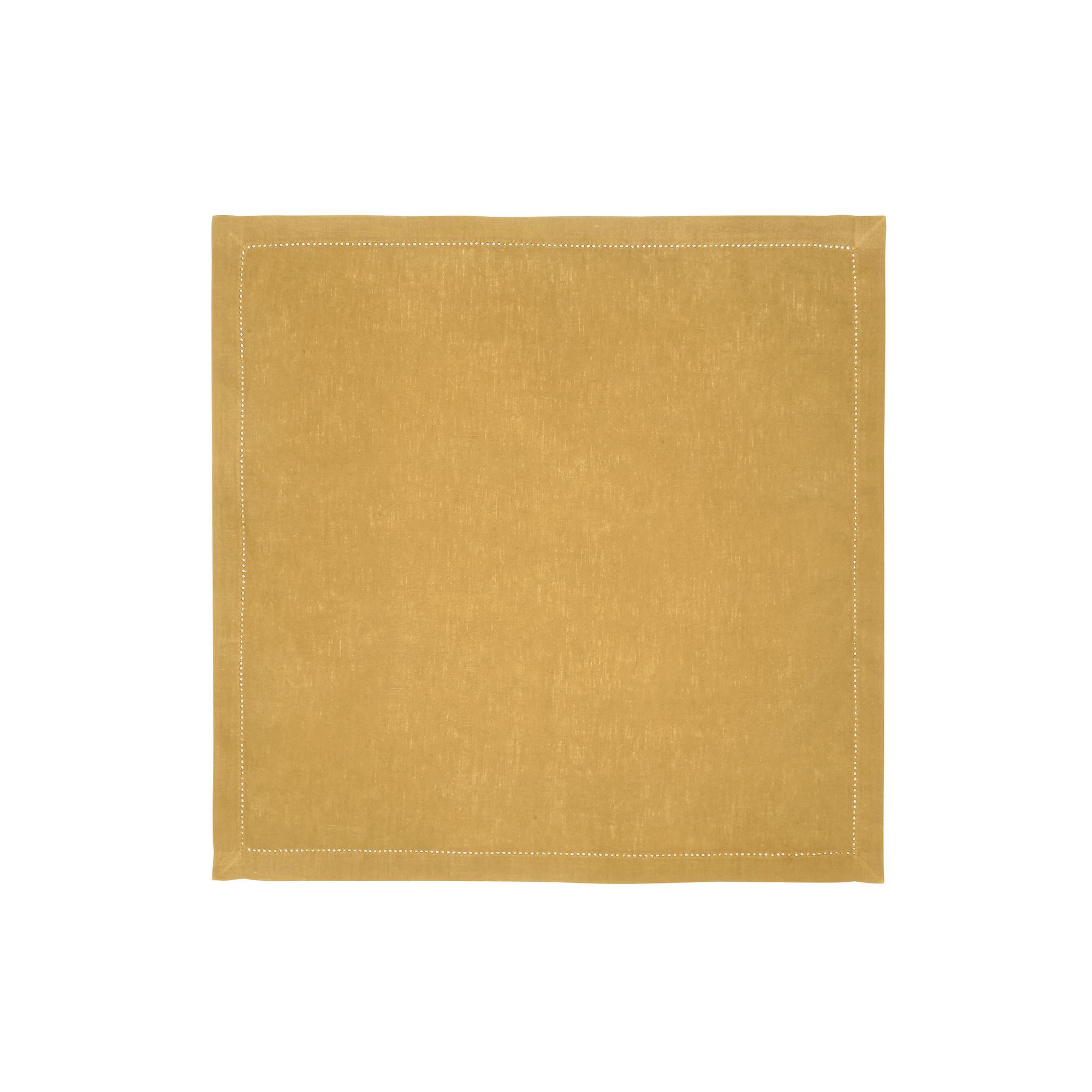 Serviette de table en lin jaune 50x50