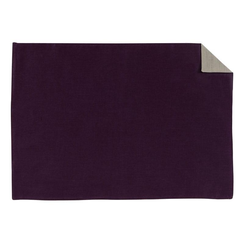 Set de table en lin violet/beige 35x50