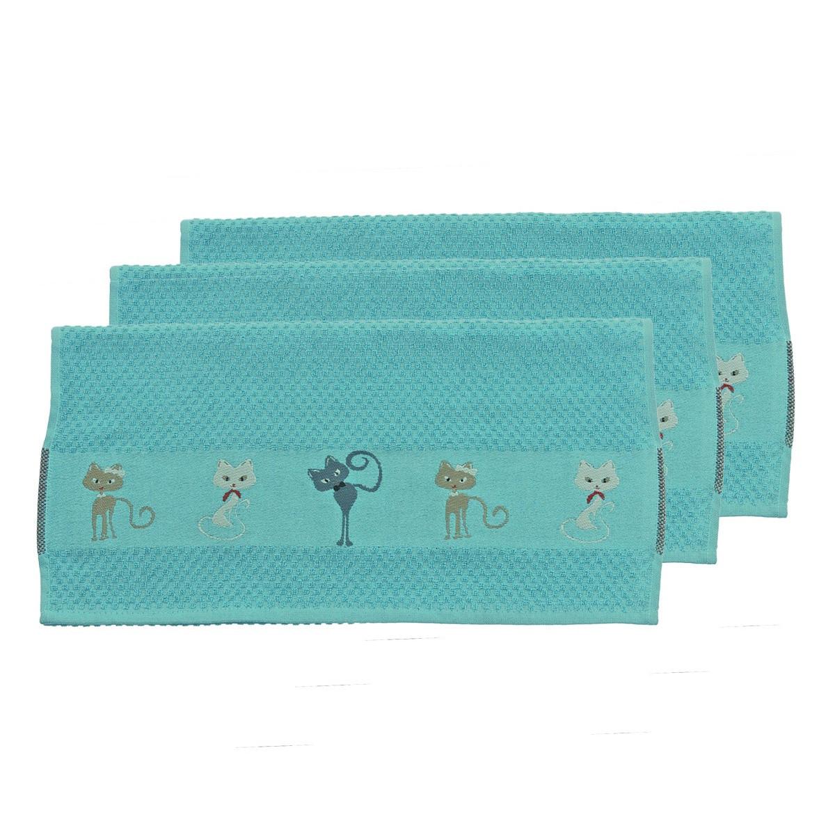 Torchon en polyester bleu 50x70