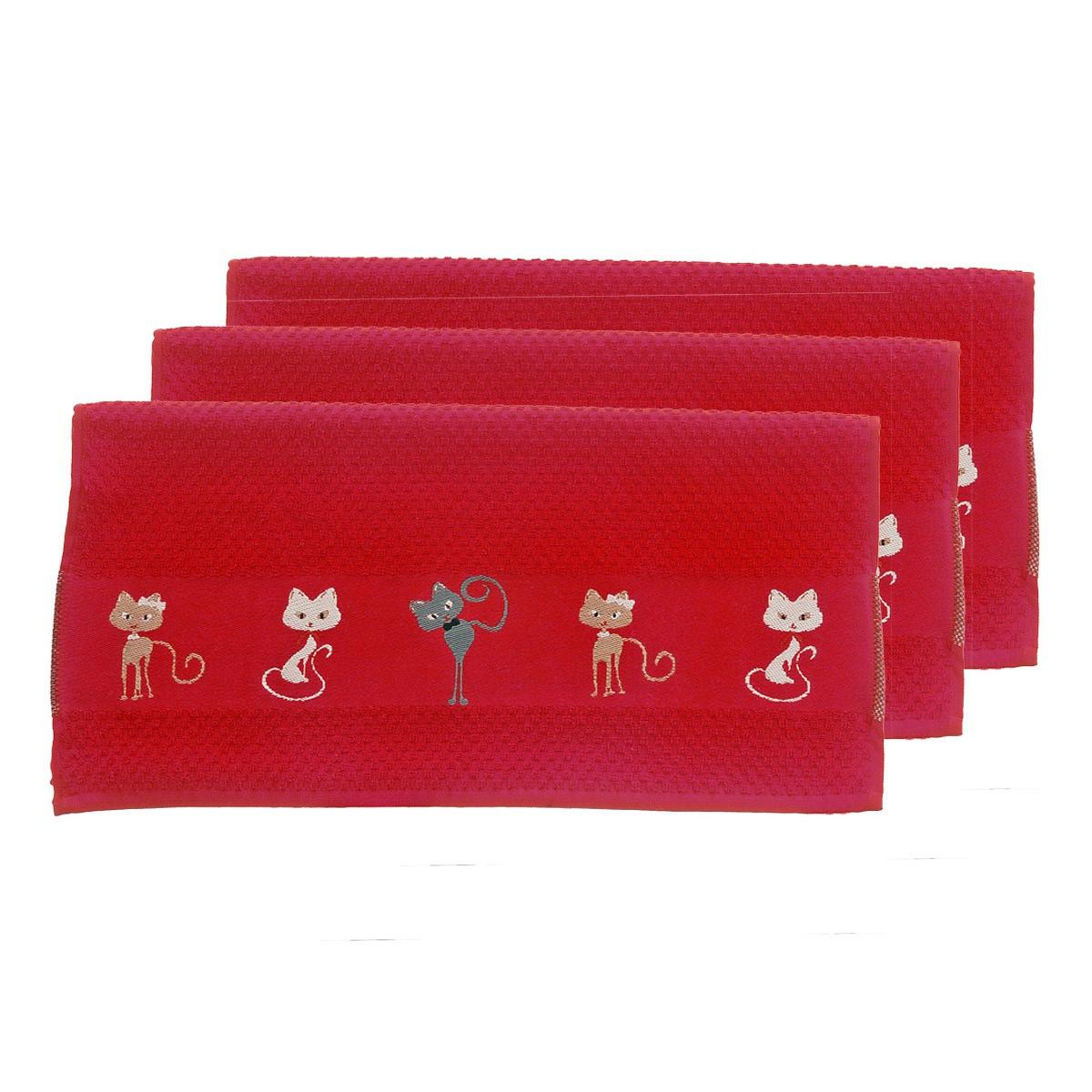 Torchon en polyester rouge 50x70
