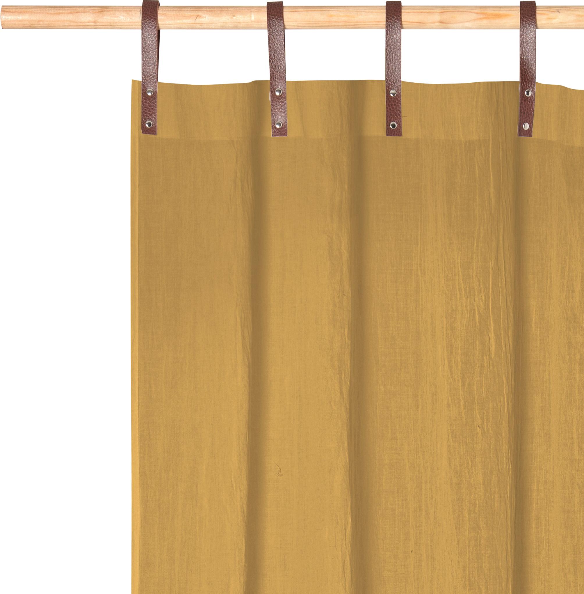 Panneau voilage finition pattes aspect cuir moutarde 245 x 135