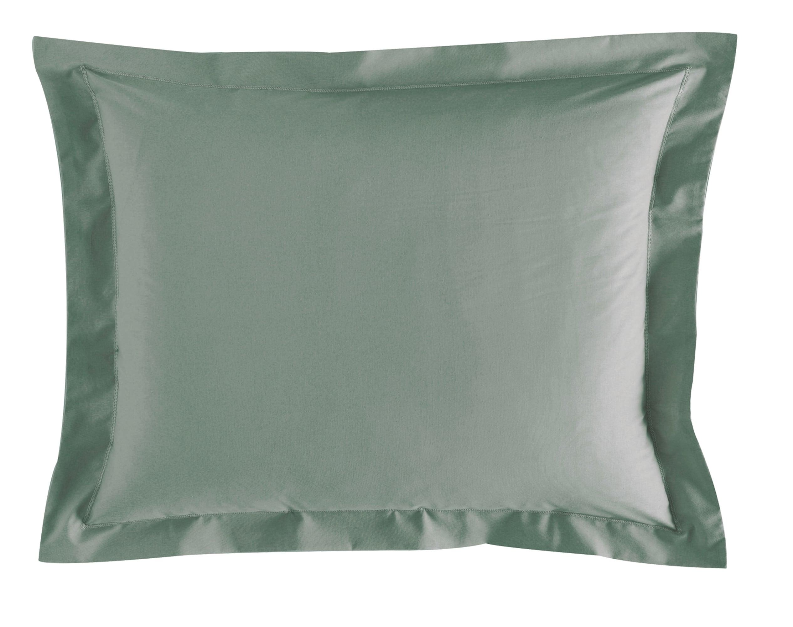 Taie d'oreiller 50x70 en percale de coton  vert eucalyptus