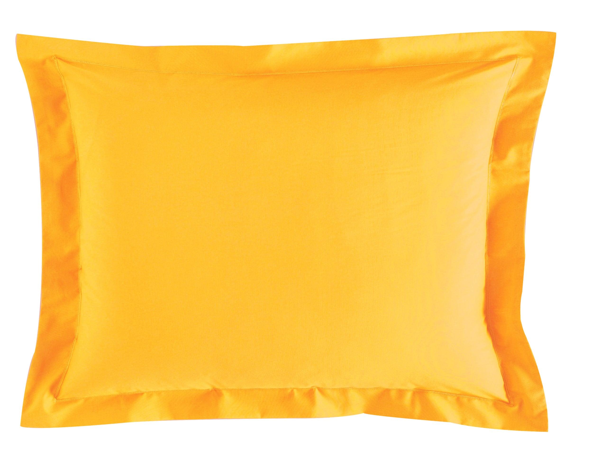 Taie d'oreiller 50x70 en percale de coton  jaune ocre