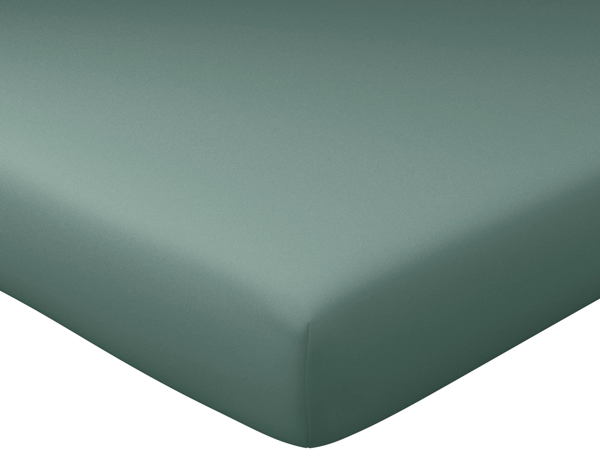 Drap-housse 160x200 en percale de coton  vert eucalyptus