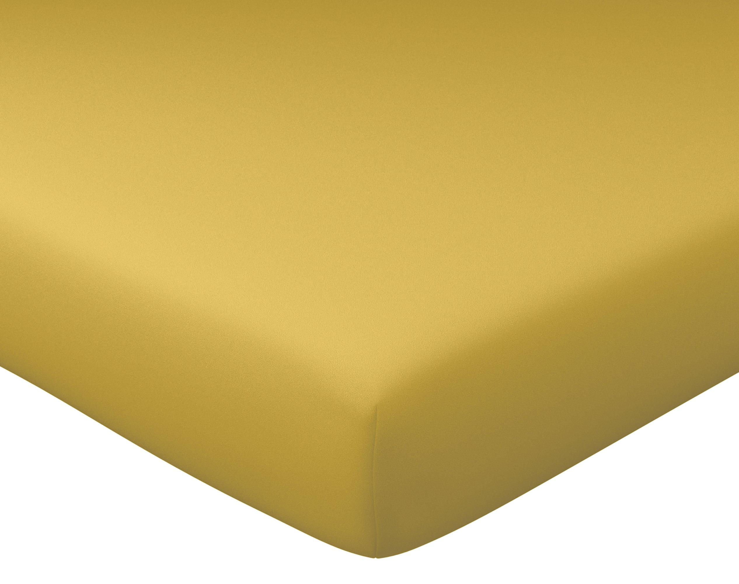 Drap-housse 160x200 en percale de coton  jaune ocre