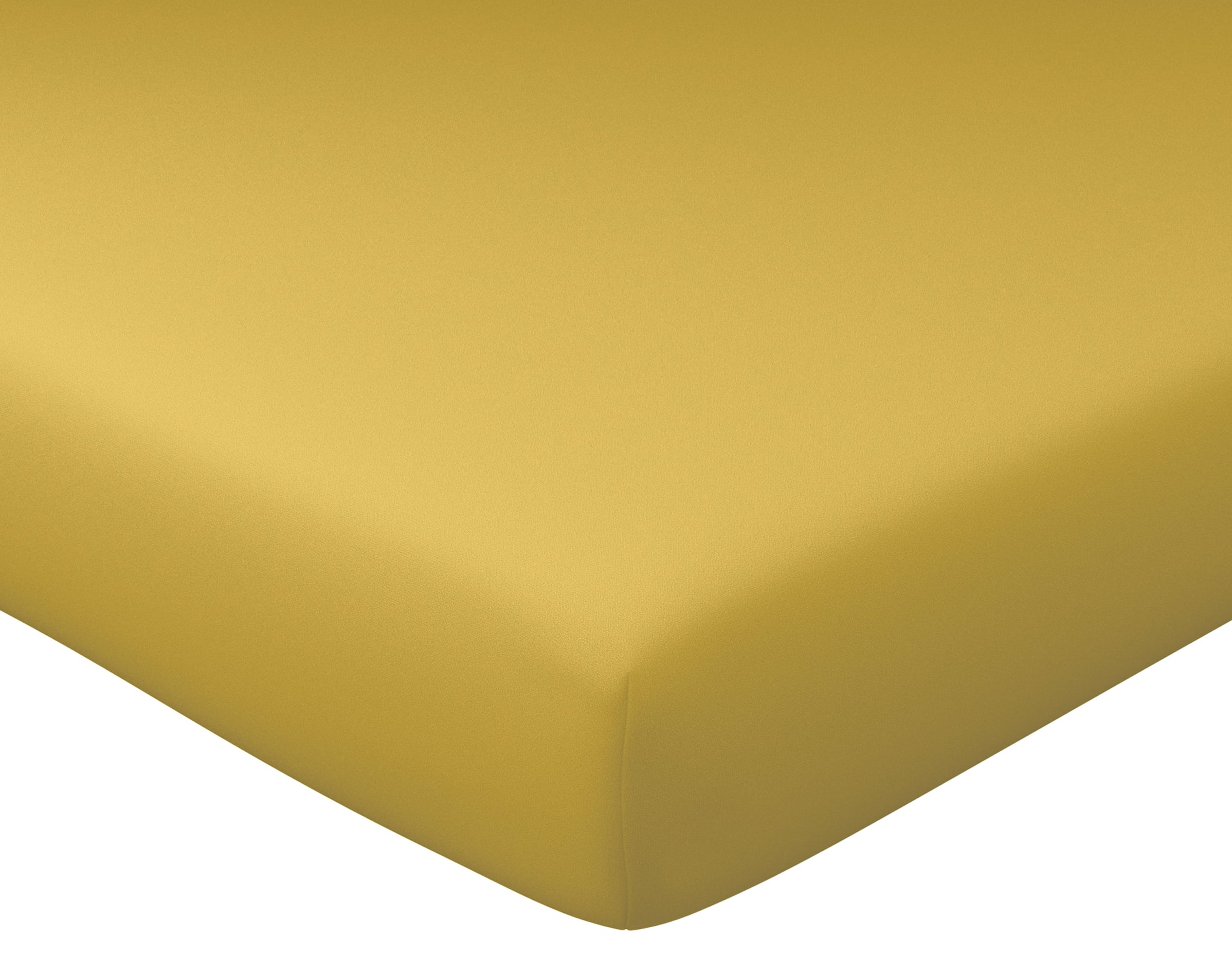Drap-housse 180x200 en percale de coton  jaune ocre