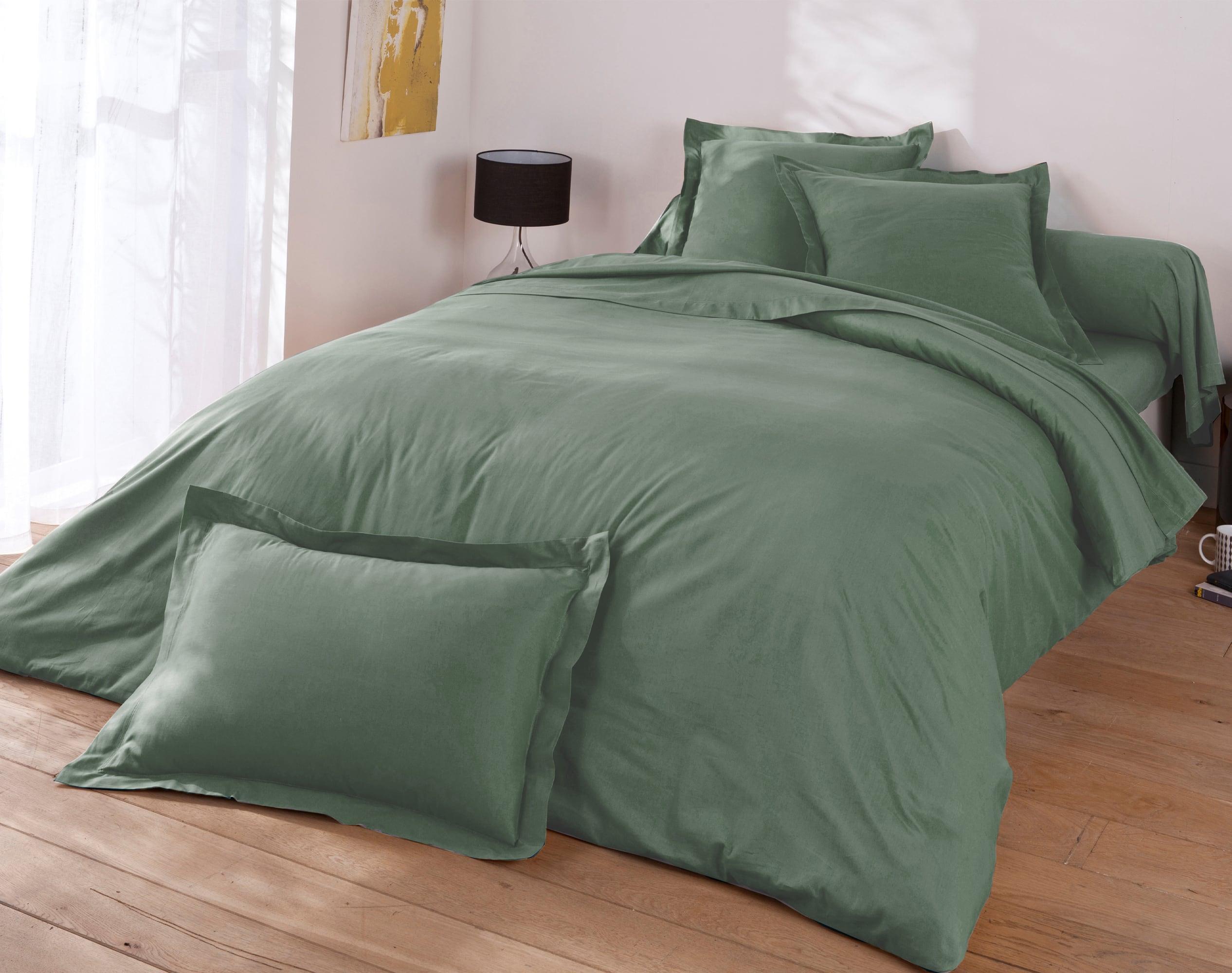 Housse de couette 240x220 en percale de coton  vert eucalyptus