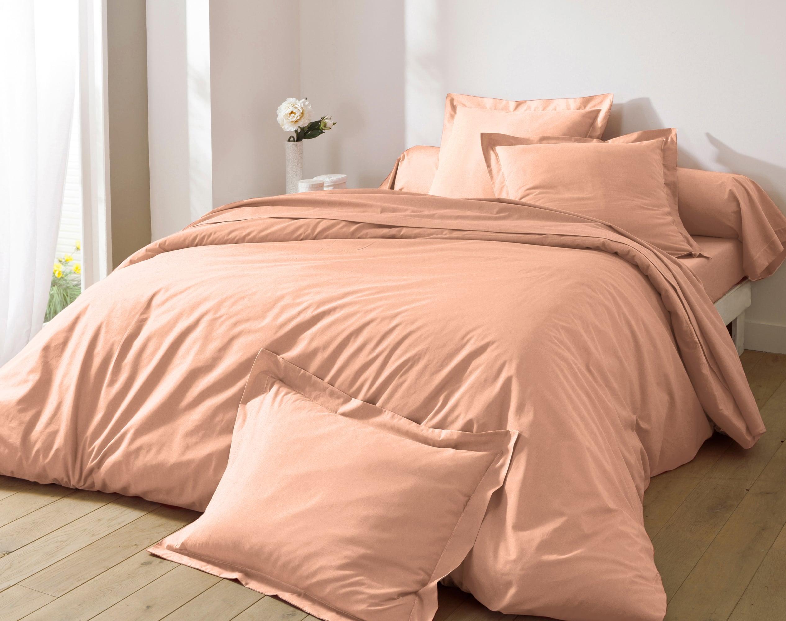 Housse de couette 260x240 en percale de coton  rose nude