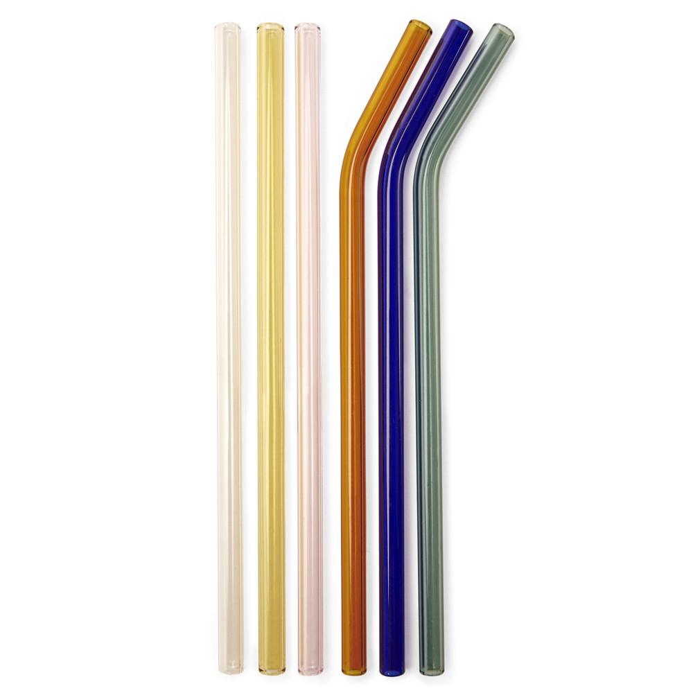 6 pailles colorées réutilisables en verre