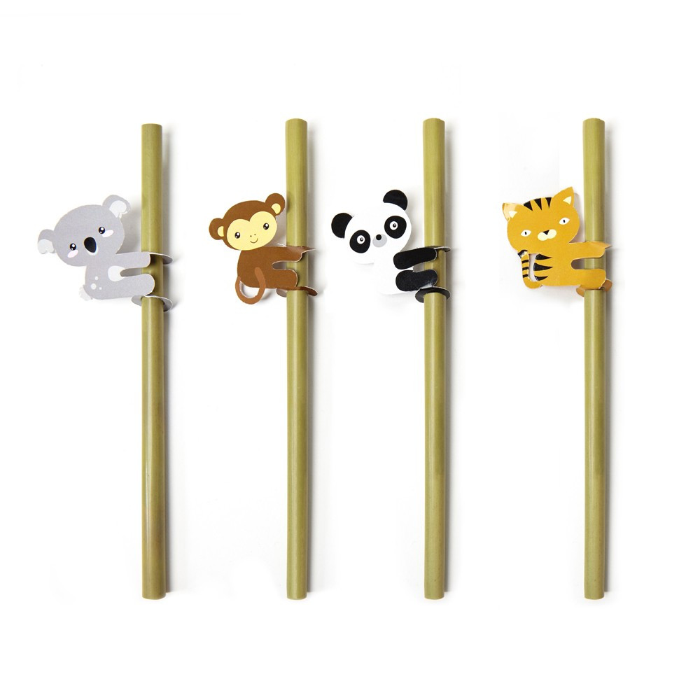 4 pailles bambou animaux