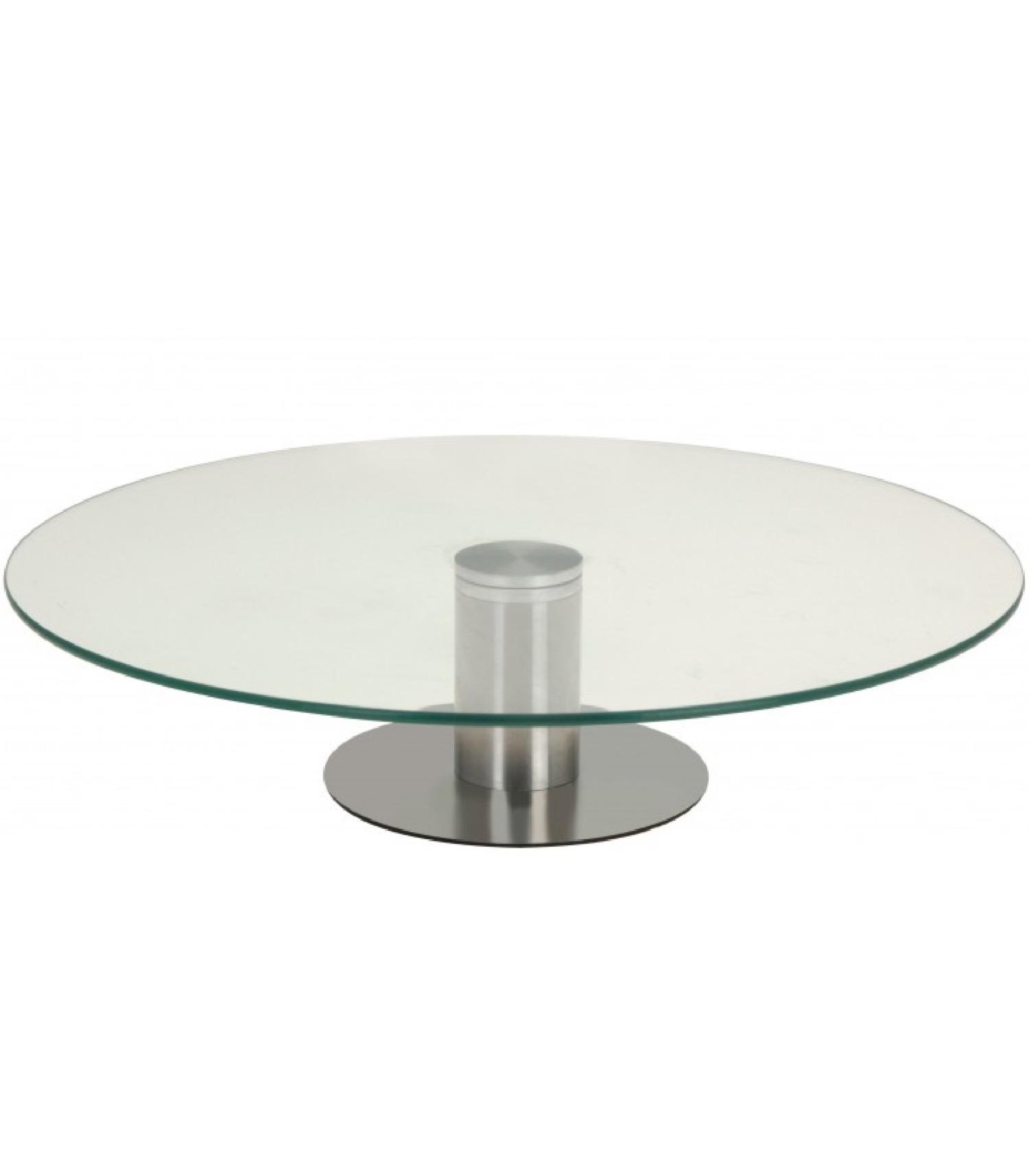 Présentoir à gâteau rond rotatif en verre et métal chromé