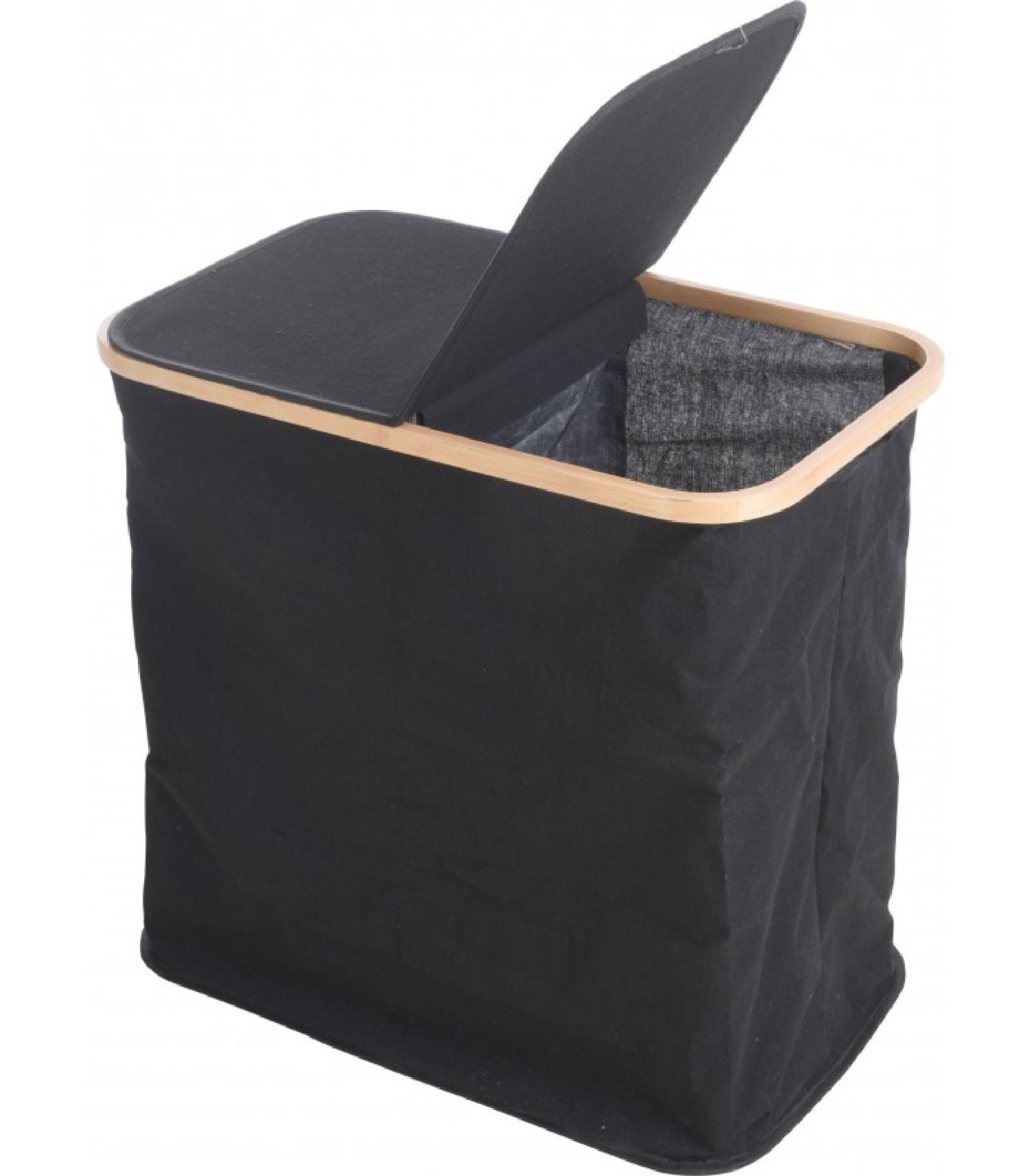 Panier à linge 2 compartiments tissu noir et bambou H51cm