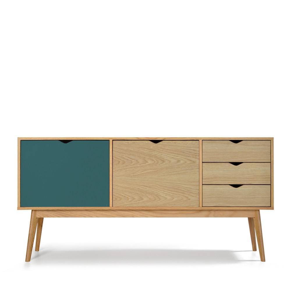 Buffet 2 portes 3 tiroirs chêne vert eucalyptus