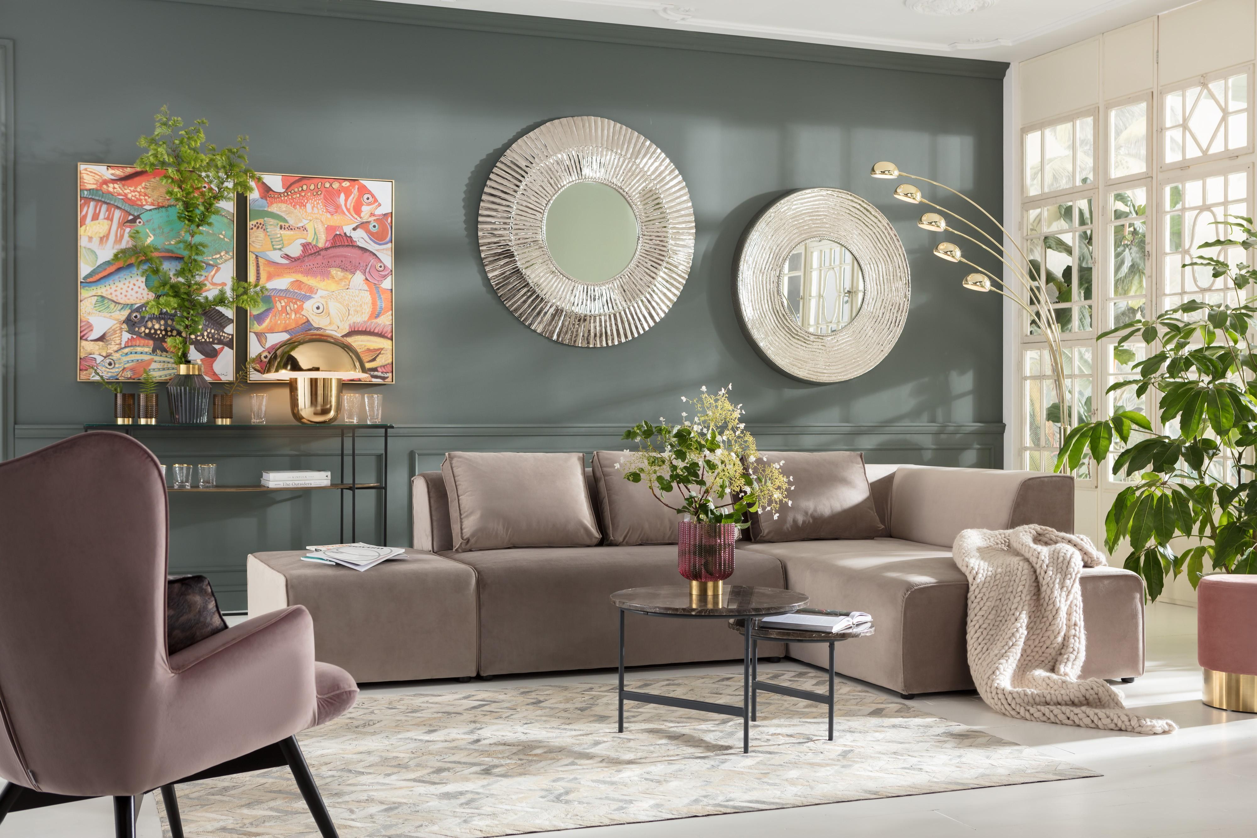 Table basse en marbre marron et acier noir
