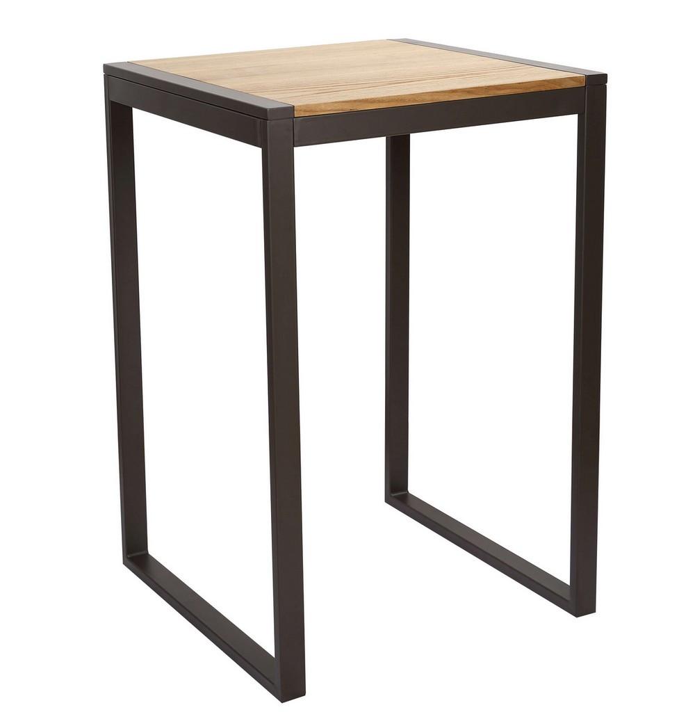 Mange debout carré 70 cm acier/bois massif clair