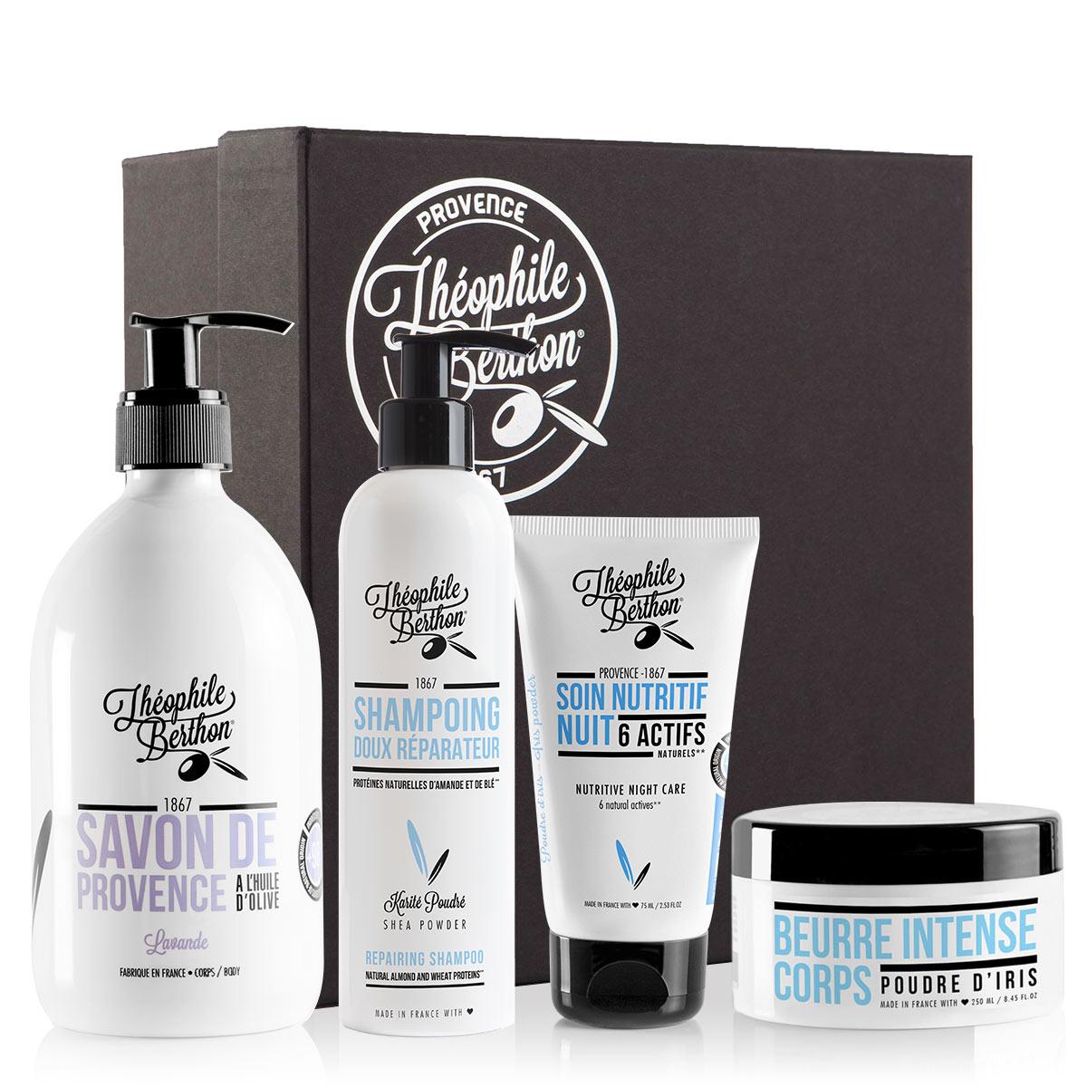 Coffret 4 soins corps cheveux et visage peau sèche