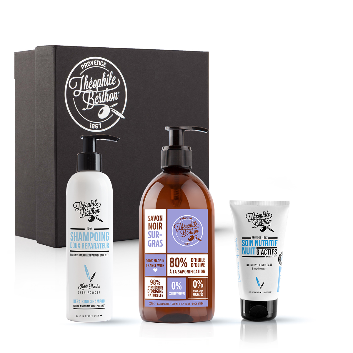 Coffret soin visage shampoing et savon liquide de Marseille