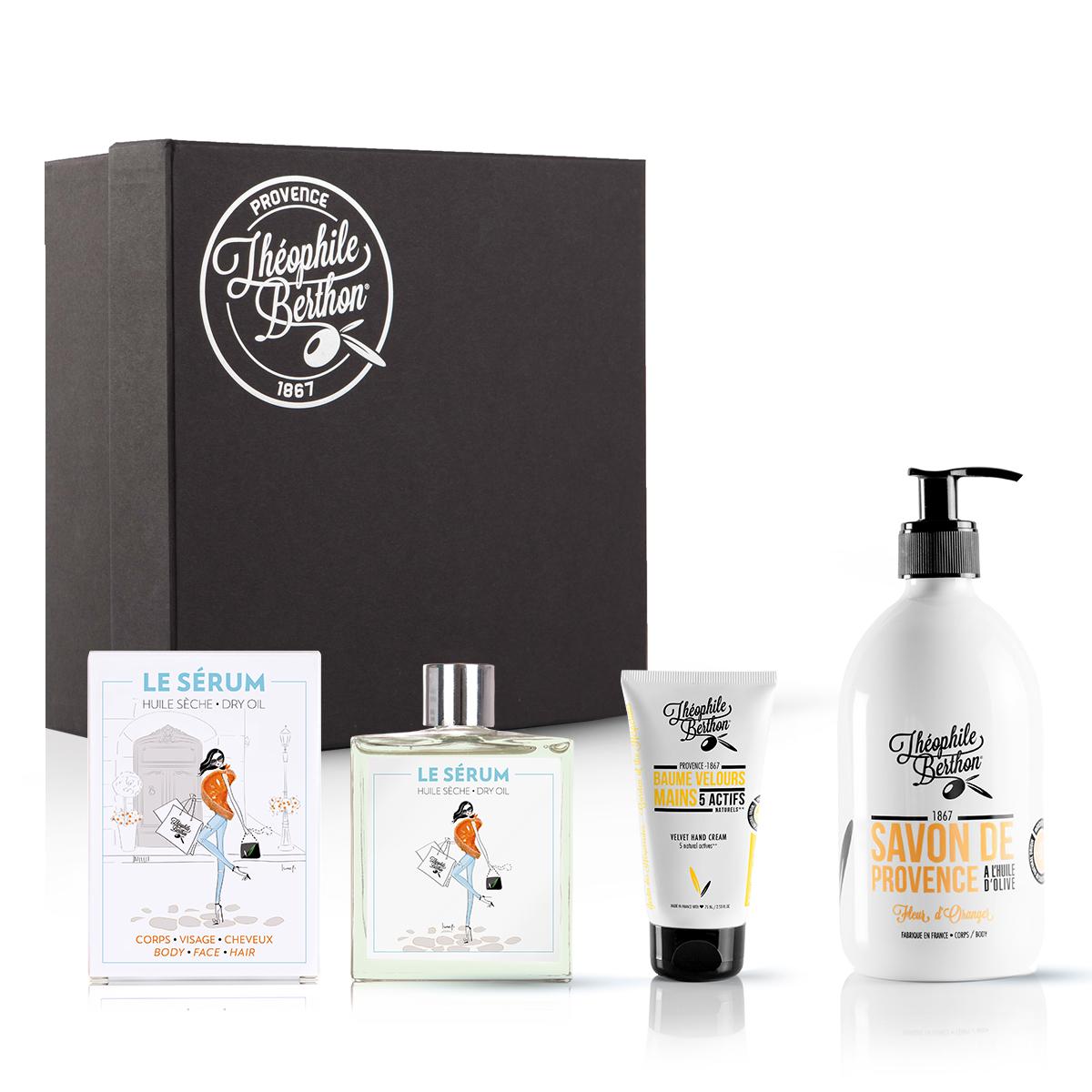 Coffret huile sèche baume mains et savon douche fleur oranger