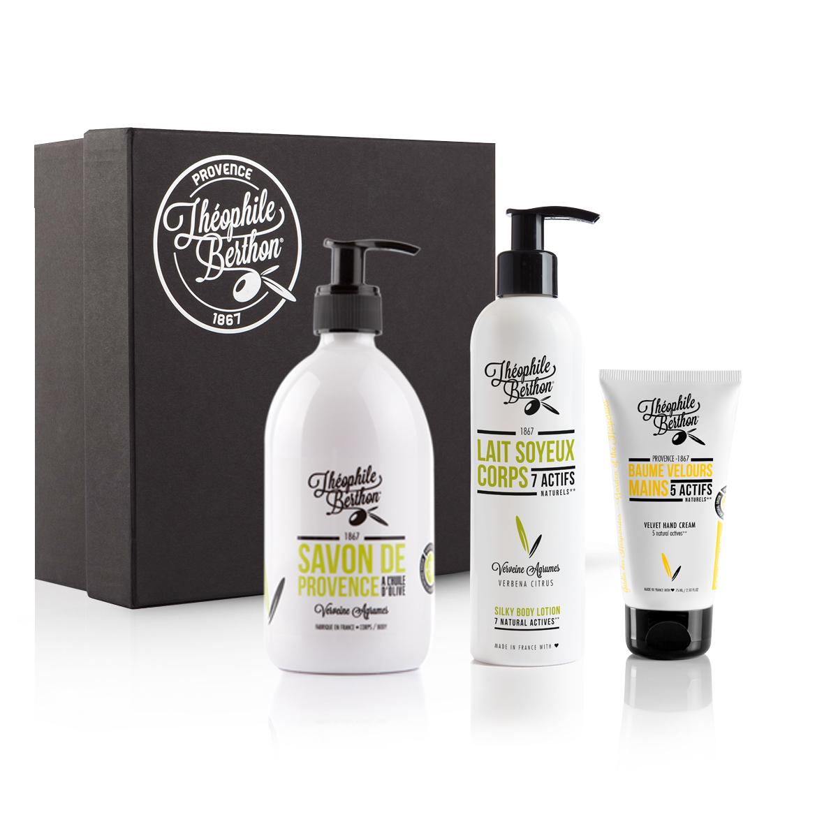 Coffret agrumes avec baume mains et savon douche olive