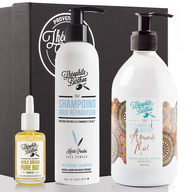 Coffret shampoing avec savon olive et huile cheveux sec