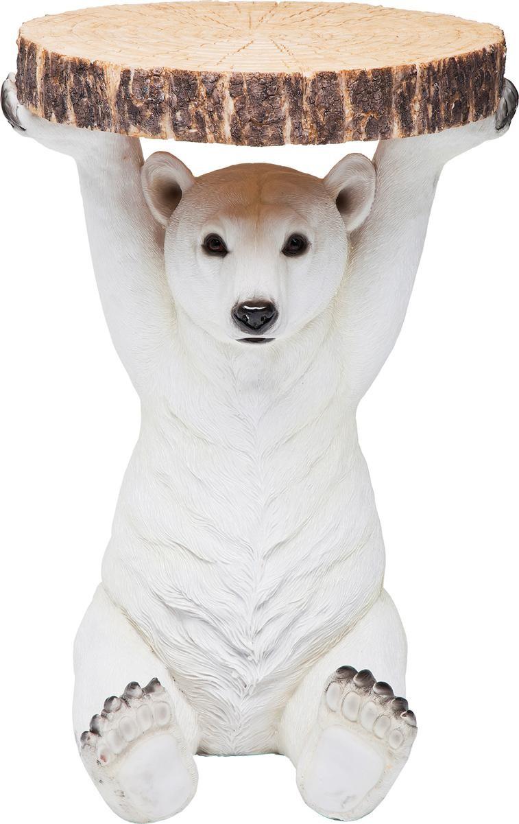 Table d'appoint ours blanc en polyrésine