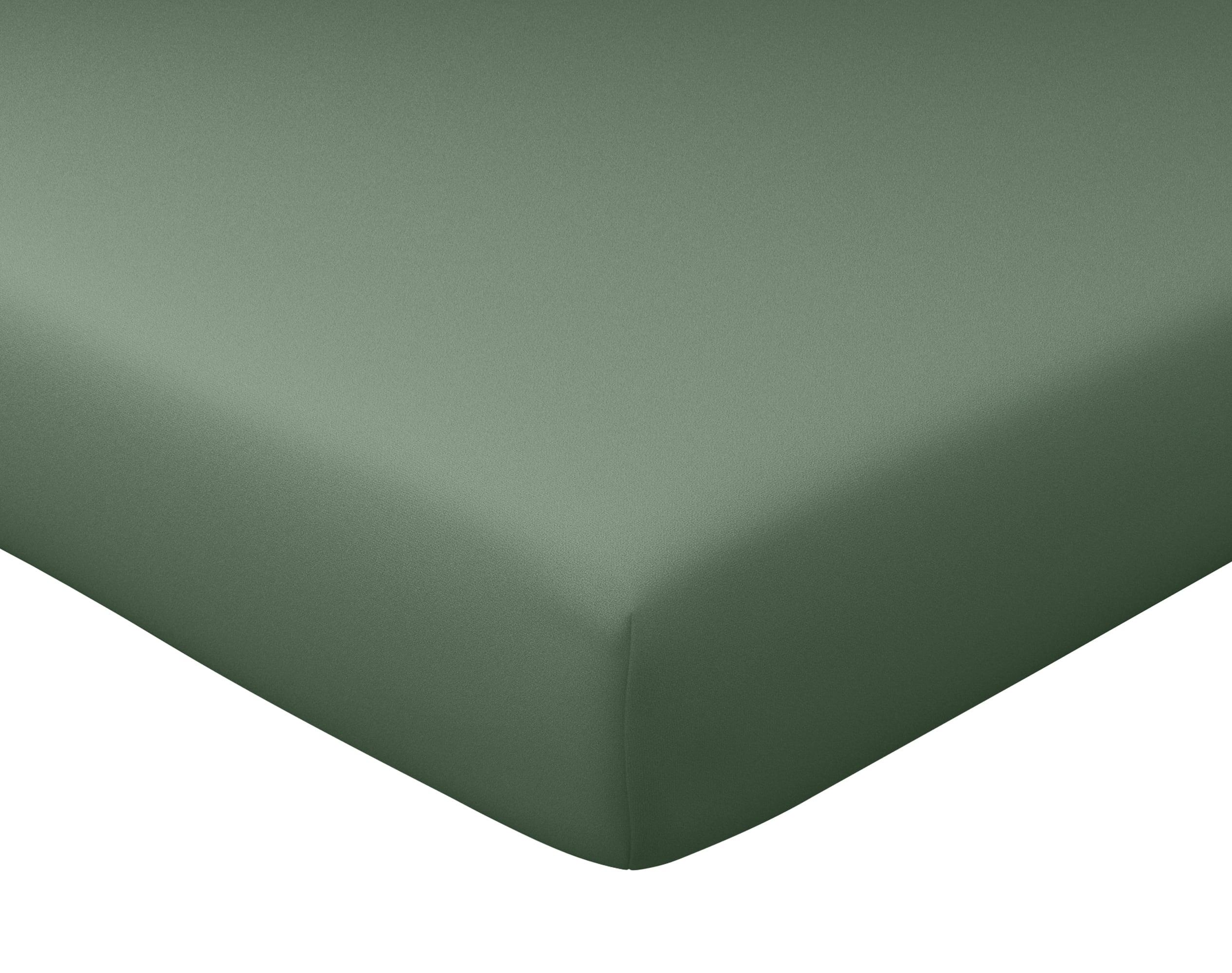 Drap-housse 140x190 en percale de coton  vert kaki