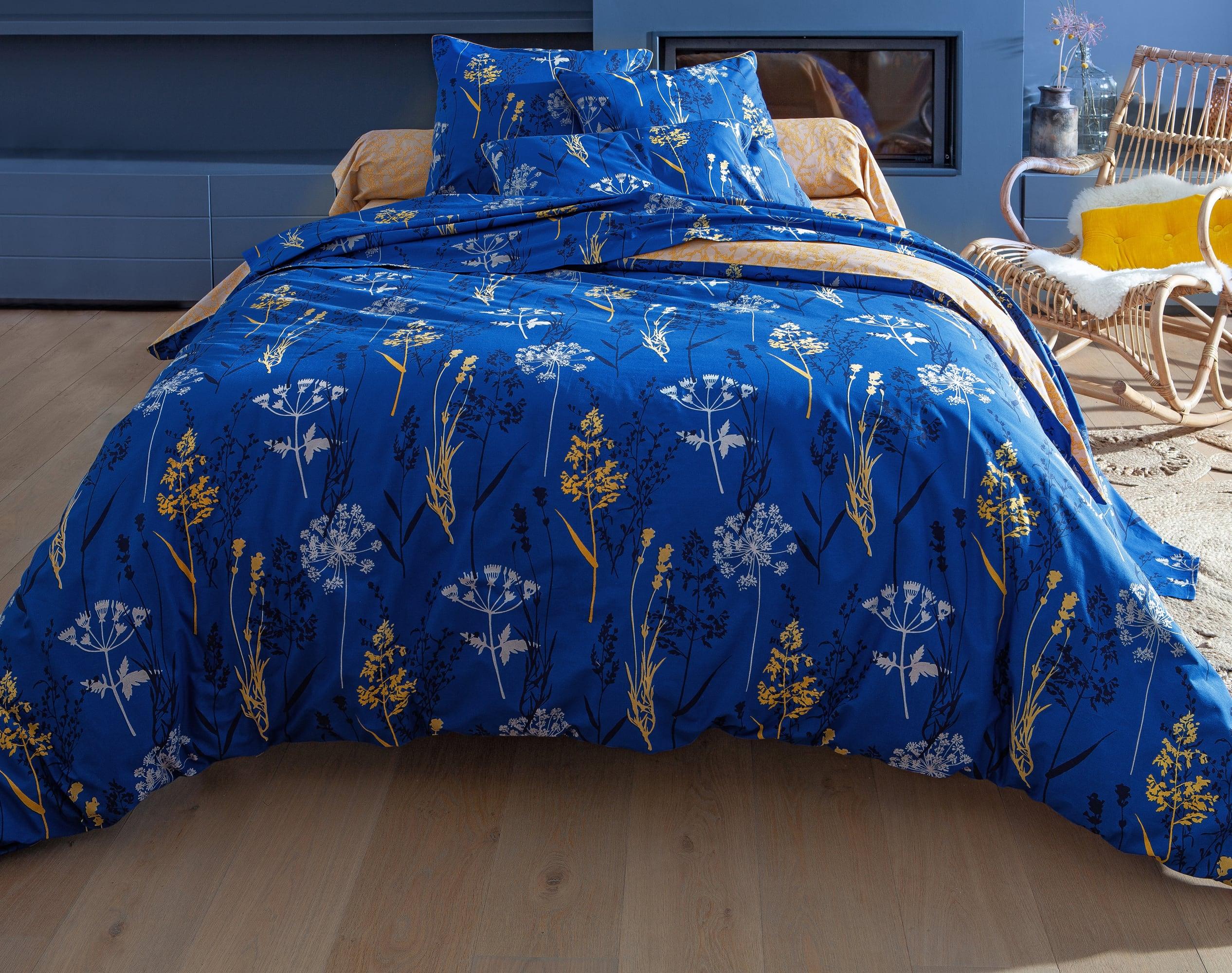 Housse de couette 260x240 en coton bleu