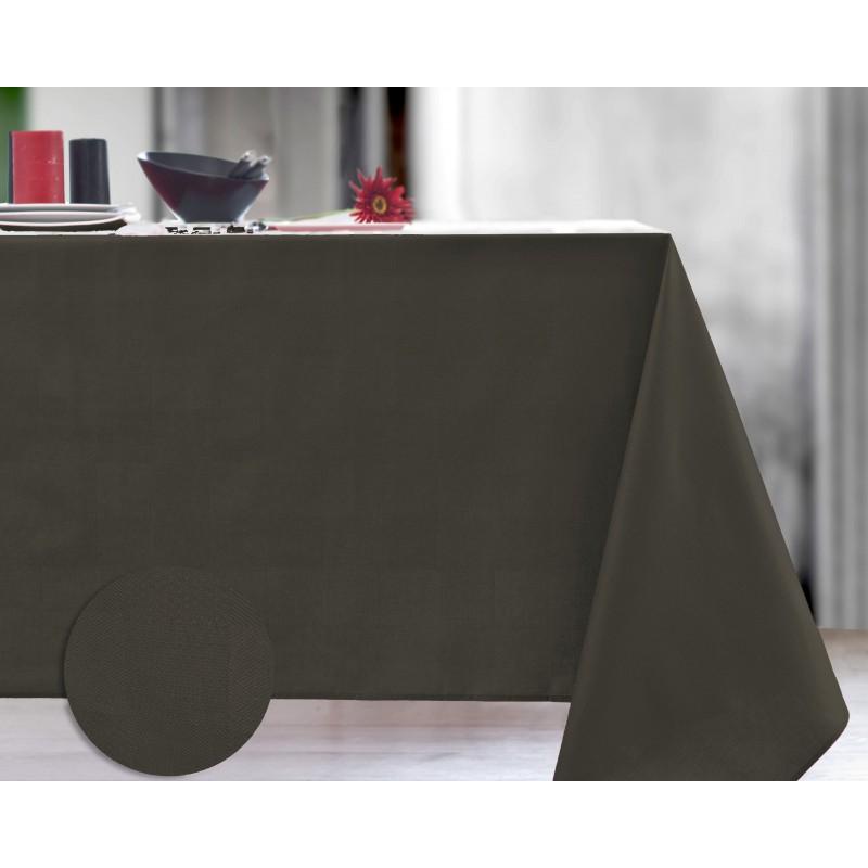 Nappe damassée enduit acrylique café 140x300 cm