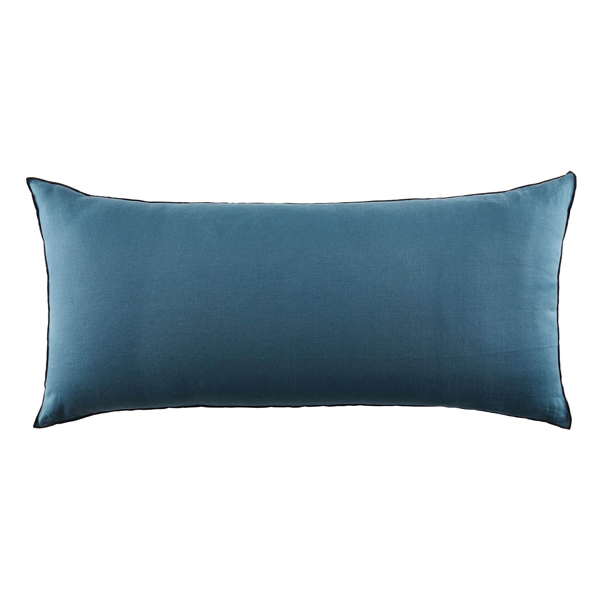 Housse de coussin 55x110 cm Bleu vert et bourdon noir en Lin