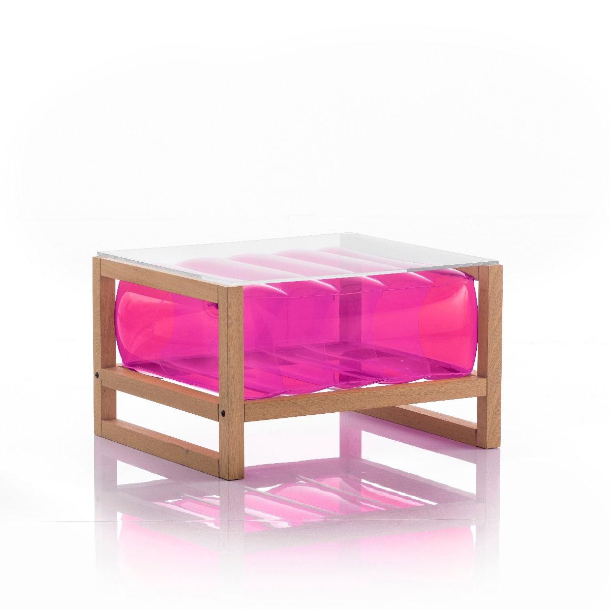 Table basse en bois et tpu rose
