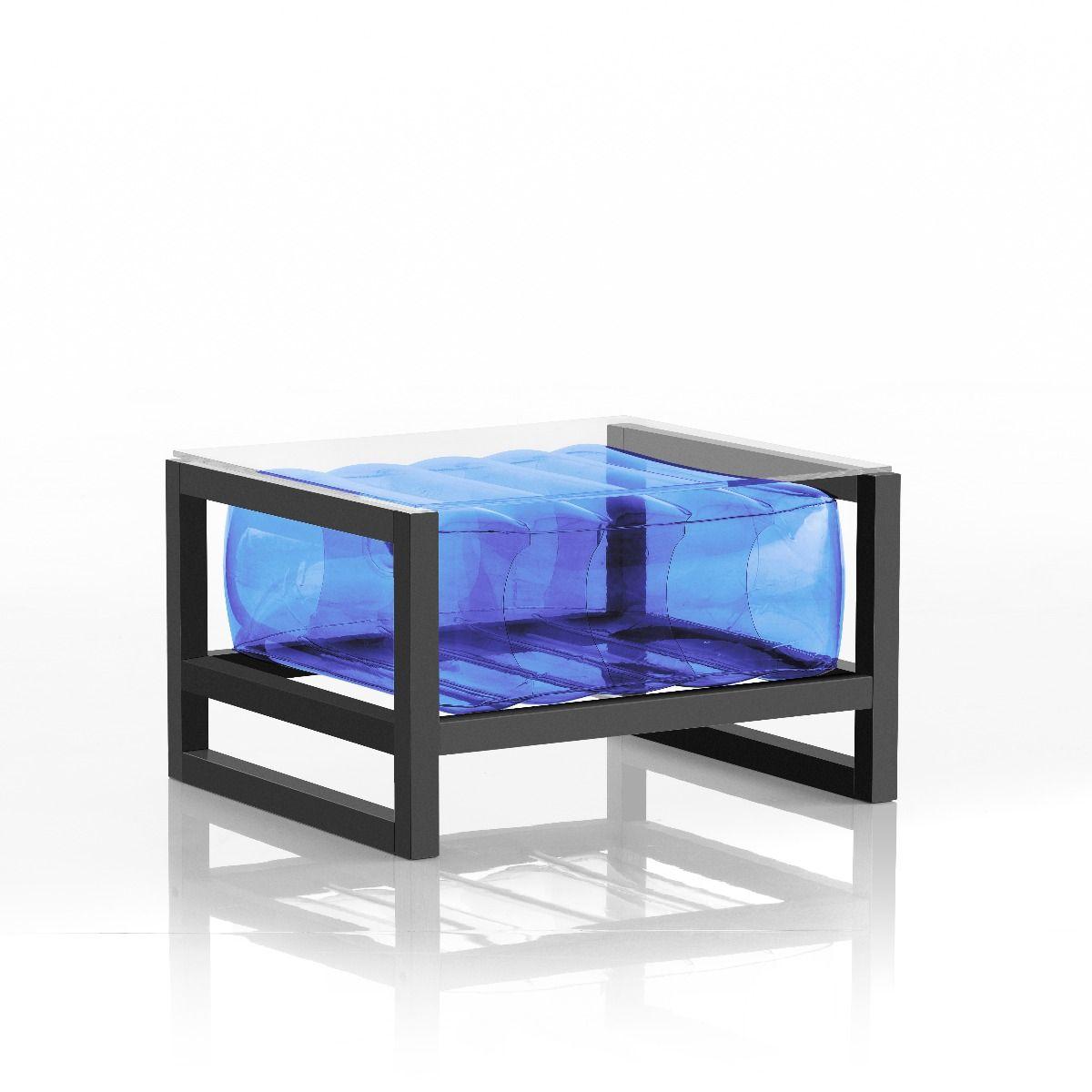 Table basse tpu bleu cadre en aluminium