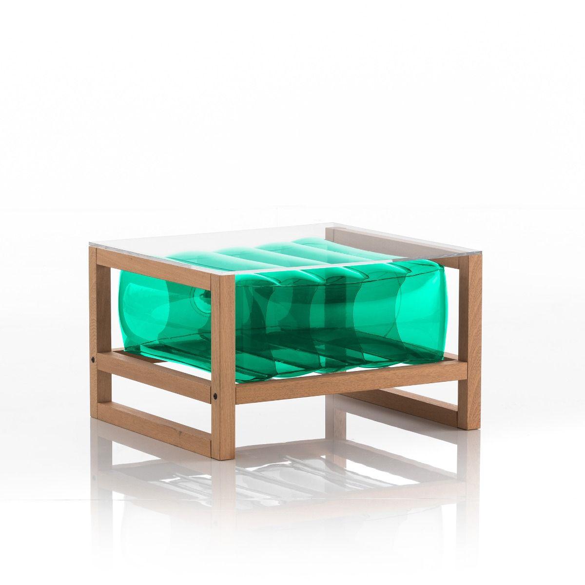 Table basse en bois et tpu vert
