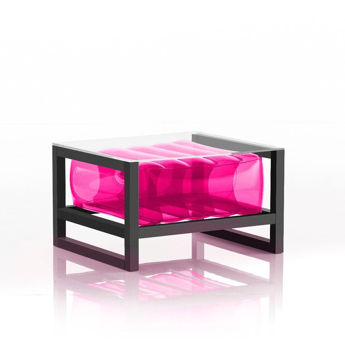 Table basse tpu rose cadre en aluminium