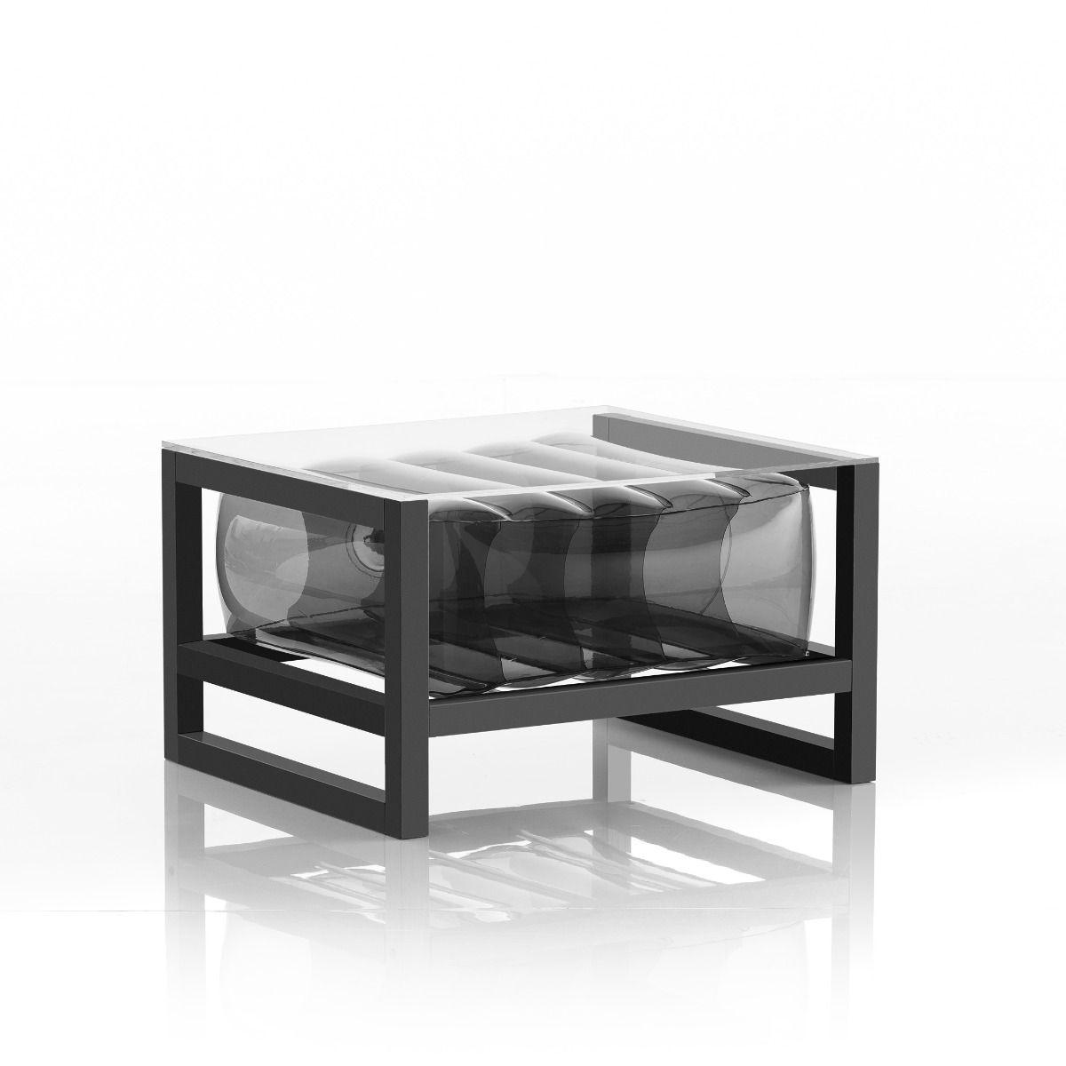 Table basse tpu noir cristal cadre en aluminium