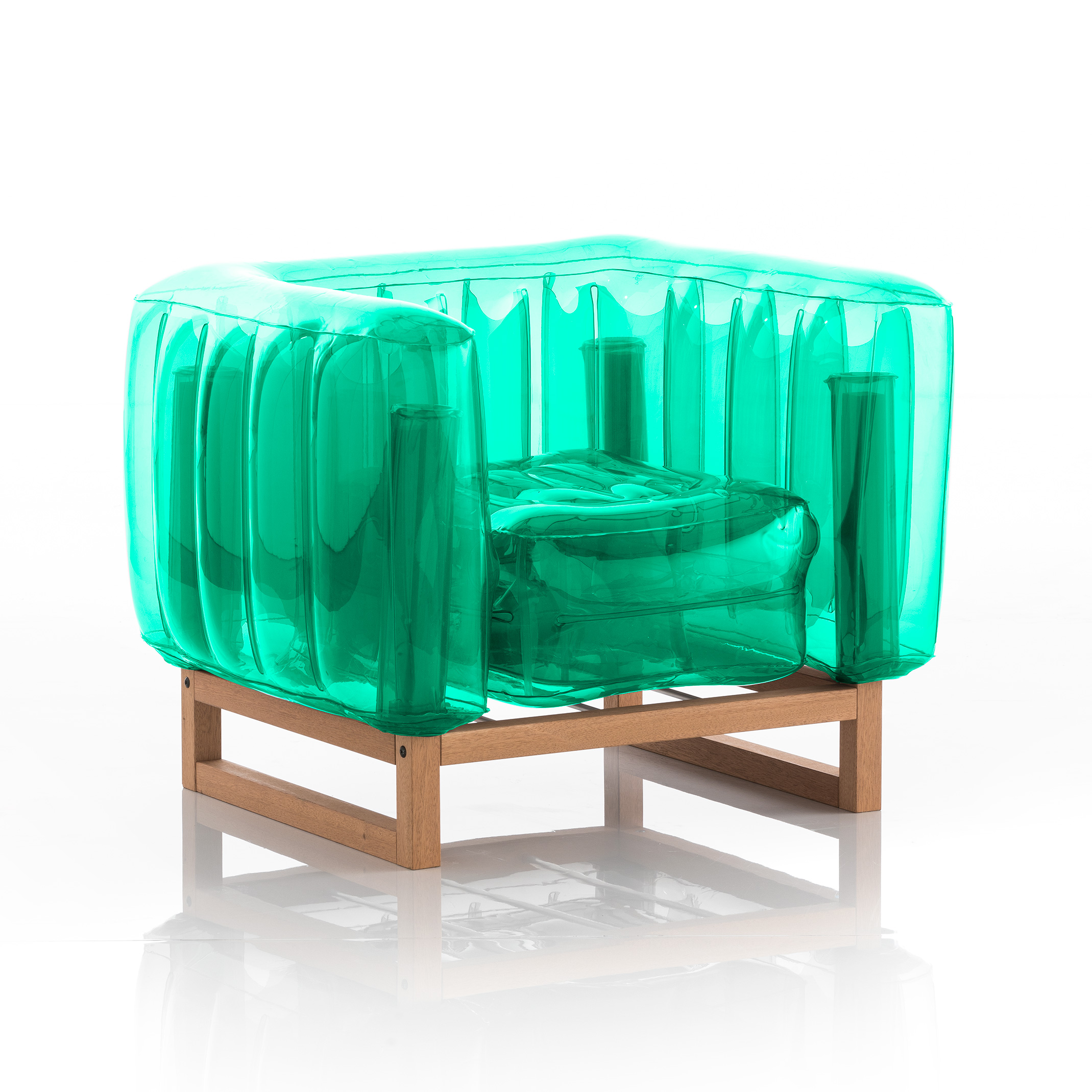 Fauteuil tpu vert cristal cadre en bois