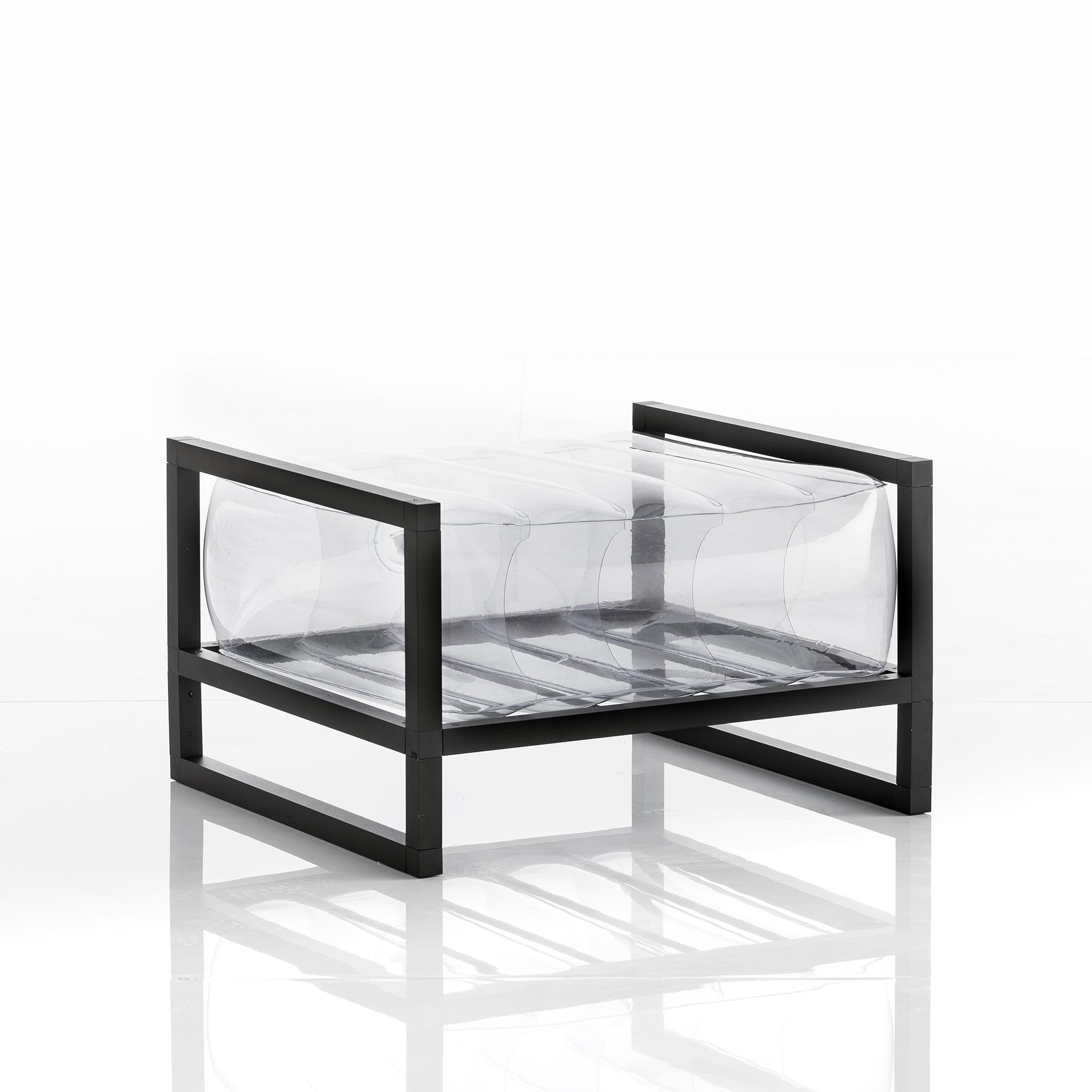 Pouf tpu transparent cadre en aluminium