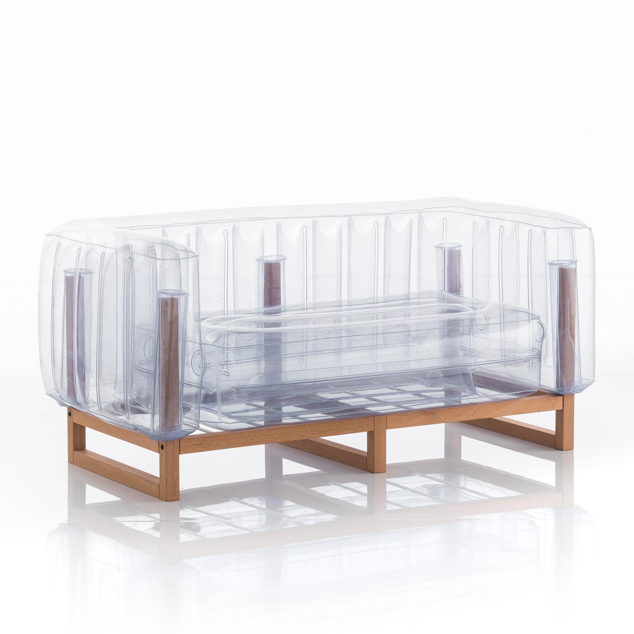maison du monde Canapé 2 places tpu transparent cadre en bois