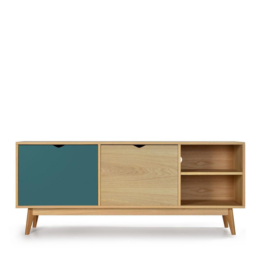 Meuble TV design 2 portes chêne vert eucalyptus