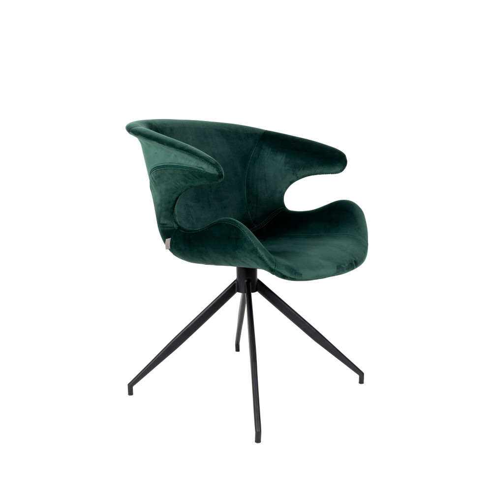 Fauteuil de table en velours vert