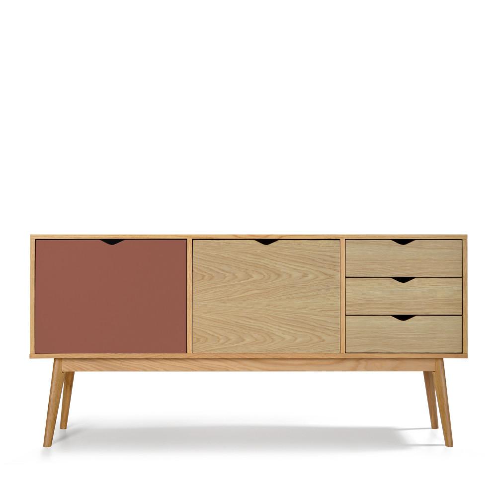 Buffet design 2 portes 3 tiroirs chêne terracotta