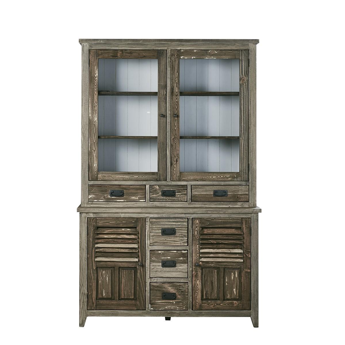 Vaisselier en bois de pin recyclé 4 portes 6 tiroirs