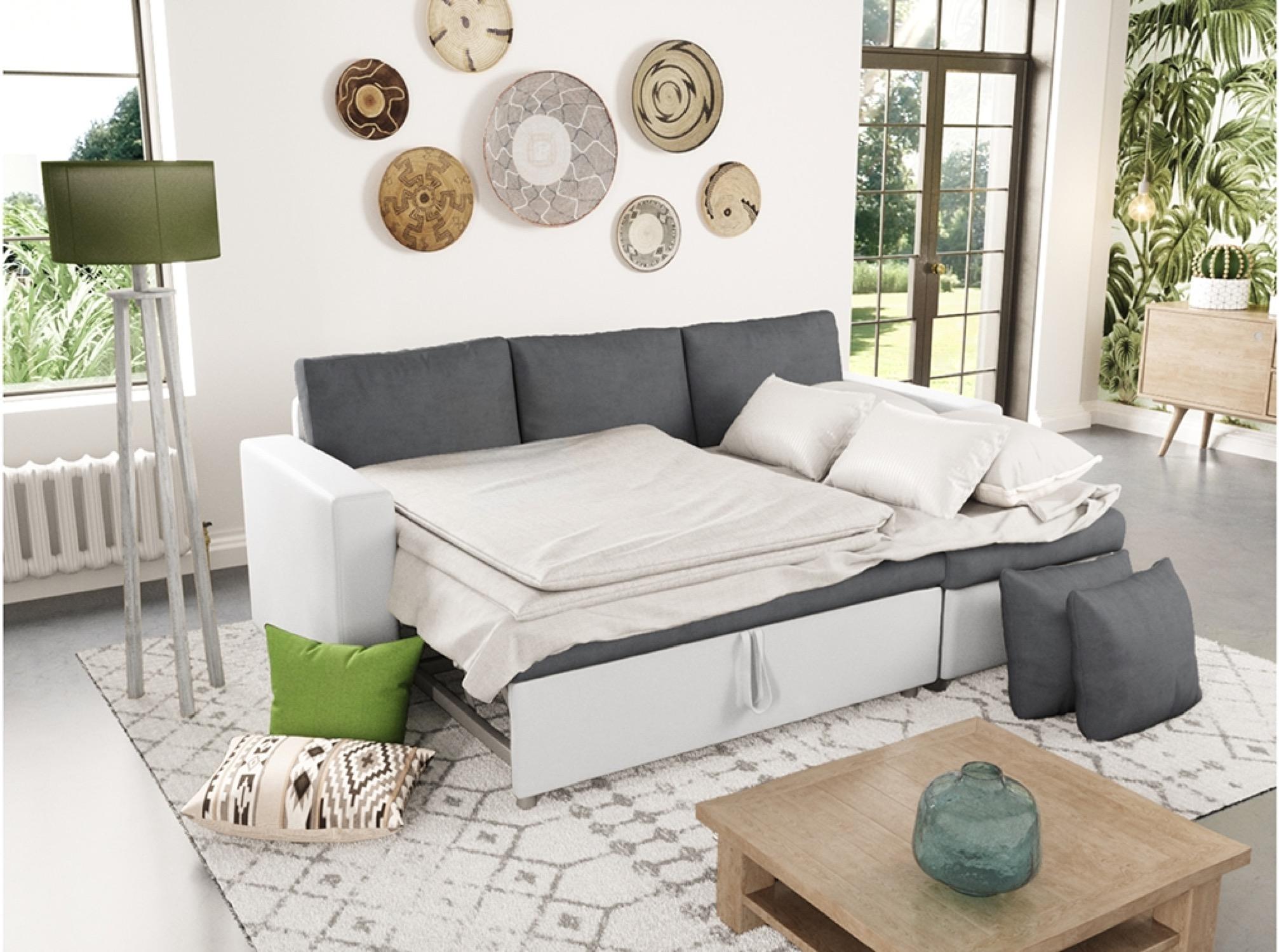 Canapé d'angle réversible et convertible avec coffre blanc/gris