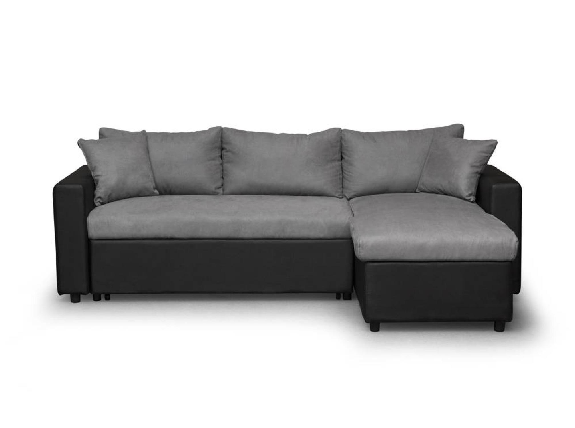 Canapé d'angle réversible et convertible avec coffre noir/gris