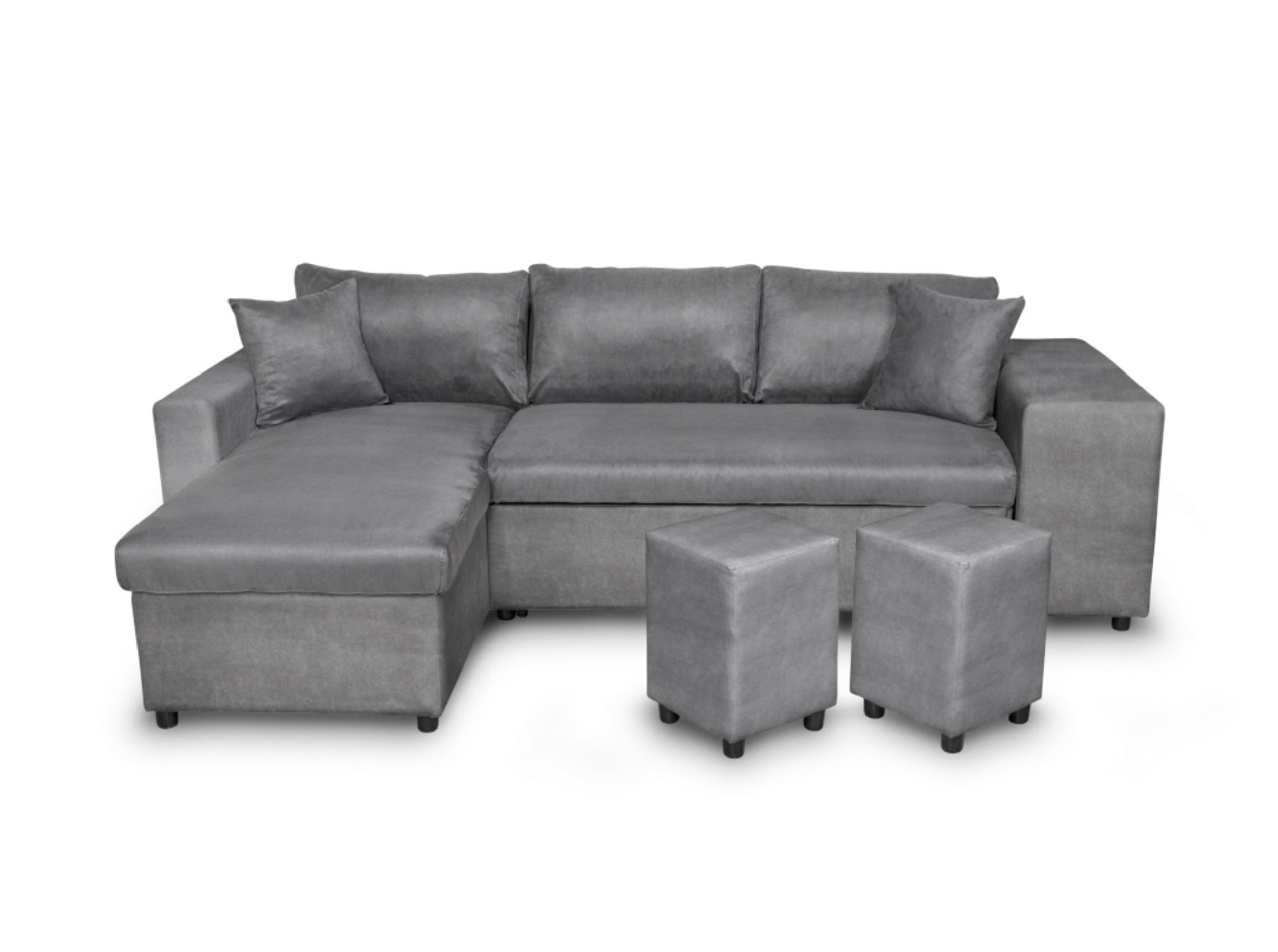 Canapé d'angle gris convertible avec rangements poufs à gauche